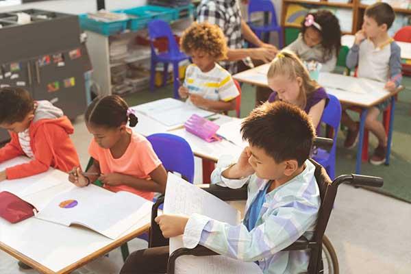 School kids studying